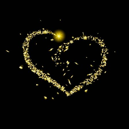 Gold pieces of confetti fly along the way in the shape of a heart on a black