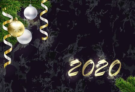 New year background with copy space. Golden 2020. Blank Christmas background for congratulations with black marble. Particles and dots scatter around. Tree branches, streamers and Golden balls. EPS10.