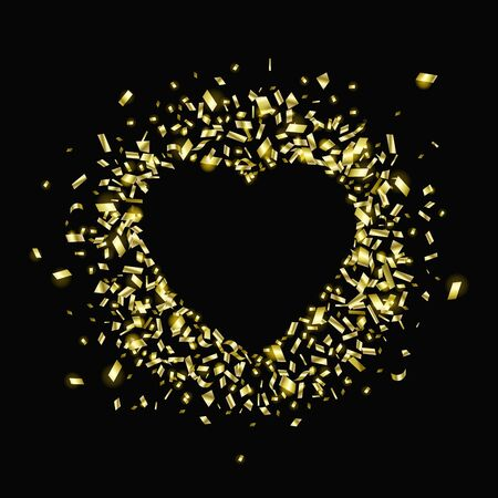 Gold pieces of foil in the shape of a heart with copy space on a black background. Falling of a confetti. A glossy golden festive tinsel. Stock fotó - 134937508