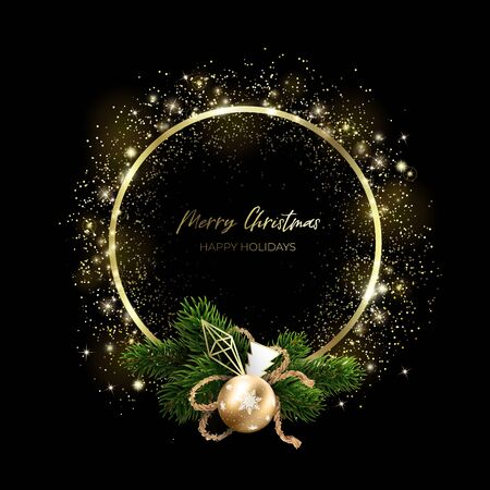 Golden glowing particles in the shape of a ring and a Christmas wreath. Geometric design and bouquet of Christmas tree branches and toys. Black and gold new year.