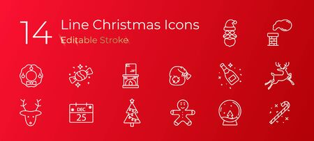 The linear set of Holiday Christmas icons on red background. Vector illustration. EPS10