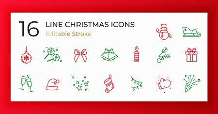 Set of Christmas icons of thin line on red background. Vector illustration. EPS10