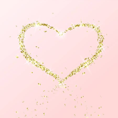 Heart of flying particles of gold on pink background