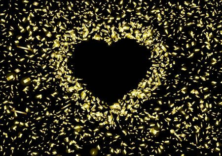 The background of Heart of flying pieces of foil with copy space on a black background. Falling of a confetti. A glossy golden festive tinsel.