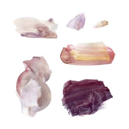Set of hand drawn watercolor stains and blots. Brown, burgundy, vinous and marsala colors. Juicy and bright colors. It can be used for wrap, wallpaper, website, pattern, decor, print. 写真素材