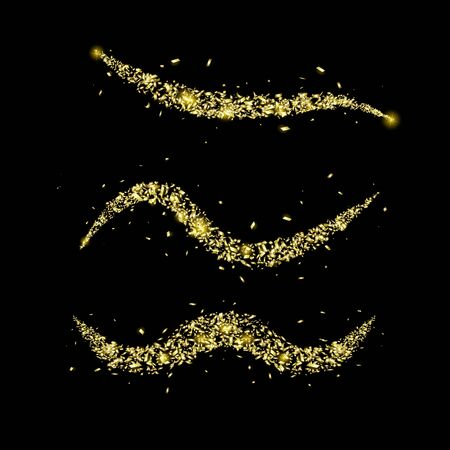 The set of wave trail from pieces with golden sparkle. Golden glittering of magic waves with gold particles isolated on black background. Vector illustration.  イラスト・ベクター素材