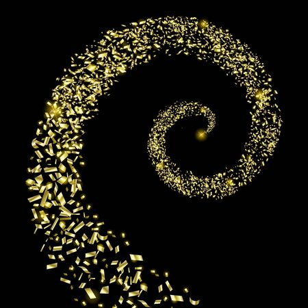 A spiral of flying gold particles on a black background. Pieces of gold foil.