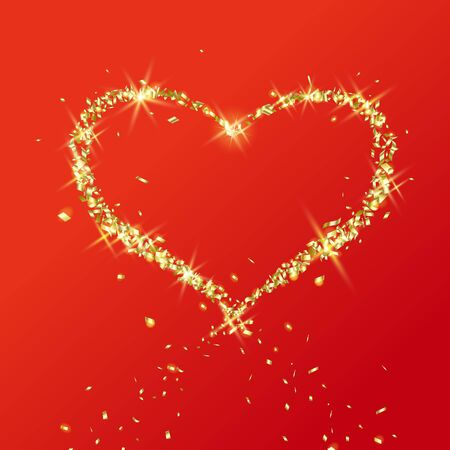 Heart of flying particles of gold on red background. Postcard or banner for Valentines day, wedding and expression of love 向量圖像