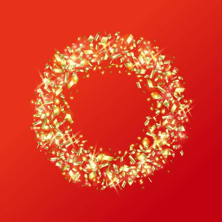 Gold ring made of sparkling gold pieces with copy space on a red background.
