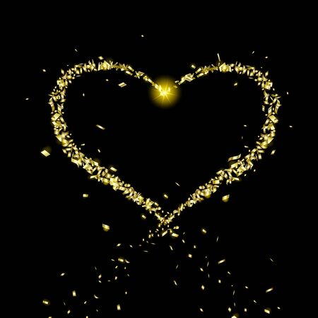 Golden heart of flying particles on black background