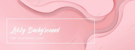 Pink overlap waved background with copy-space for text. Horizontal format. Banner for Valentines day. You can use it as a background for ads, websites, presentations, postcards or invitations. Illustration