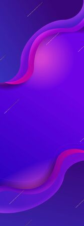 Dark blue background with violet waves and lines, vertical banner. Cosmic modern style design, abstract elements, gradient from dark to light pink.