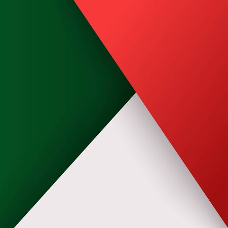 Minimal modern design, background with triangles layers red, green, white. Simple abstract texture, colored template