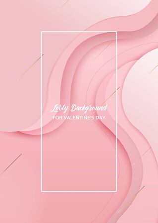 Pink overlap waved background with copy-space for text. vertical format. Banner for Valentines day. You can use it as a background for ads, websites, presentations, postcards or invitations.