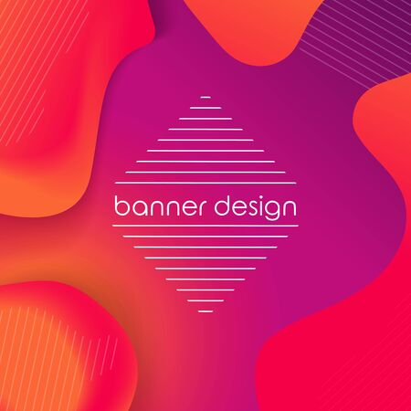 Abstract liquid background. Red, orange and purple colors. Fluid shapes, square composition. Liquid, flow, fluid background. Geometric colorful banner. Modern abstract cover. Eps10