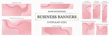 Web Banners Bundle. 9 popular digital sizes. Pink overlap waved background with copy-space. A set of business banners with an empty background for advertising, websites, postcards or invitations