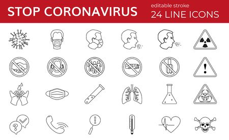 Set of line icons for coronavirus stop. Covid-19. New epidemic. World pandemic. Vector illustration and editable stroke. Symptoms, precautions, and medical equipment.