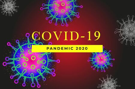 Banner for placing text about coronavirus covid-19. Background from the cells of the virus. A worldwide epidemic. For ads, presentations, brochures, social media posts or video screensavers. Vector. 向量圖像