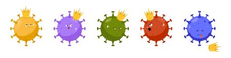 Cartoon Illustrations of the character coronavirus. A sly, angry, discontented, and dead virus. COVID-19 clipart. Multicolored virus cells with a crown on their head. 向量圖像