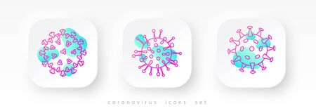 A set of coronavirus icons. The cell of Covid-19. Three color icons in a modern style represent the structure of the SARS-CoV-2 cell.