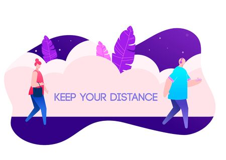 Keep your distance scene illustration with people. 向量圖像