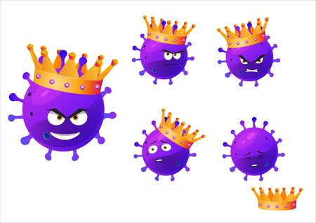 Cartoon Illustrations of the character virus covid-19.