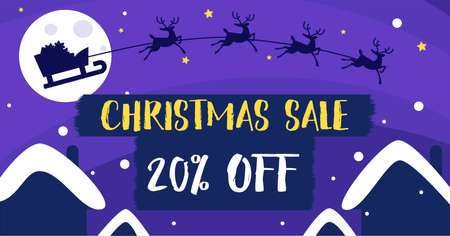 Purple fairy banner Christmas sales 向量圖像