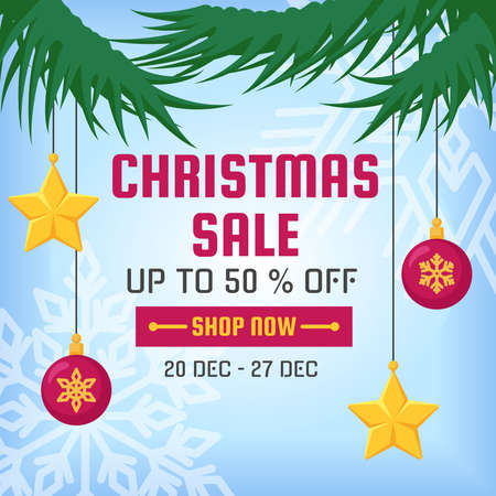 Christmas sale. Square banner in cartoon style