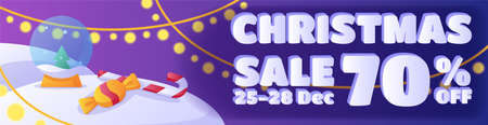 Horizontal banner template design. Christmas sale 向量圖像