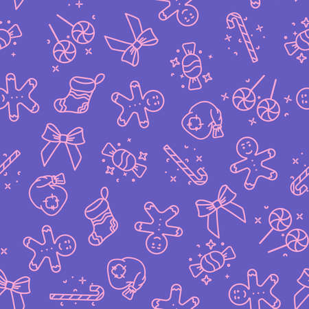 Cute purple seamless Christmas pattern from new year icons