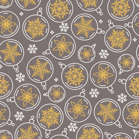 seamless Christmas pattern of balls and snowflakes