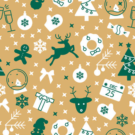 Yellow seamless pattern with Christmas symbols