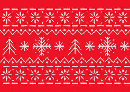 Red seamless Christmas pattern. A knitted texture