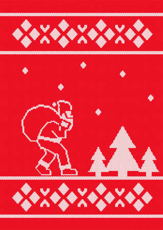 Seamless pattern. Christmas card with Santa Claus. Knitted texture.