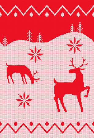 Red seamless knitted pattern. A Christmas background