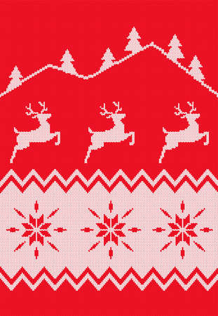 Nordic seamless pattern. Christmas background. 向量圖像