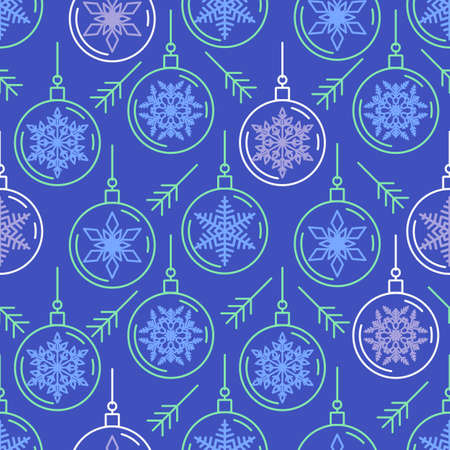 Blue seamless pattern with Christmas balls and snowflake