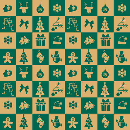 Christmas Green and yellow seamless tile pattern