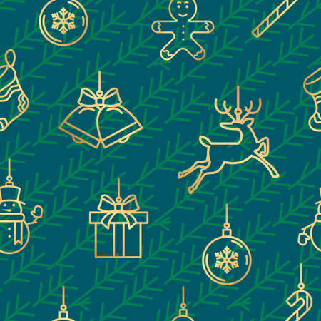 Green and gold Christmas seamless pattern with new year icons 向量圖像