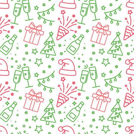 red and green light Christmas seamless pattern 向量圖像
