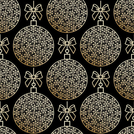 Golden seamless pattern with Christmas balls and snowflake