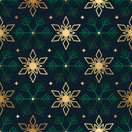 Seamless Christmas background with scattered gold and green snowflakes 向量圖像