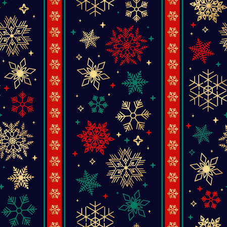 Seamless ribbon with Christmas snowflake pattern