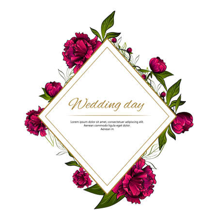 rhomboid frame with purple peony flowers and words wedding day 向量圖像