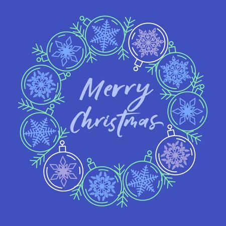 Inscription Merry Christmas in blue frame of balls 矢量图像