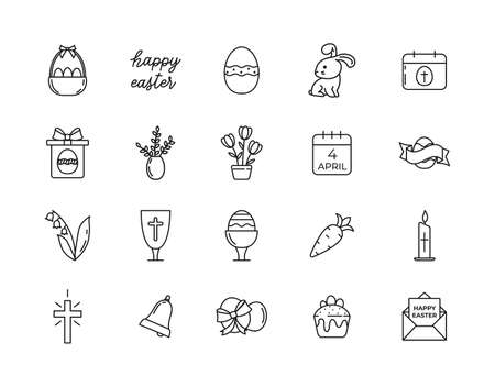 Line icons Happy Easter