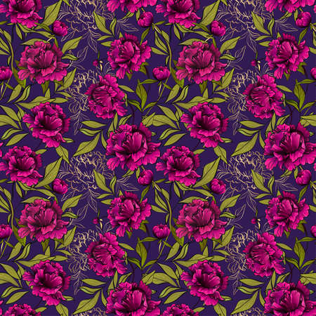 seamless pattern with peony flowers and leaves on violet Фото со стока