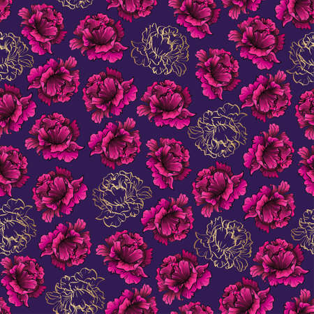 seamless pattern with pink peony flowers on violet
