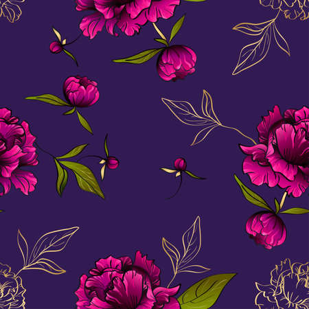 Purple seamless pattern with peony flowers and leaves Иллюстрация