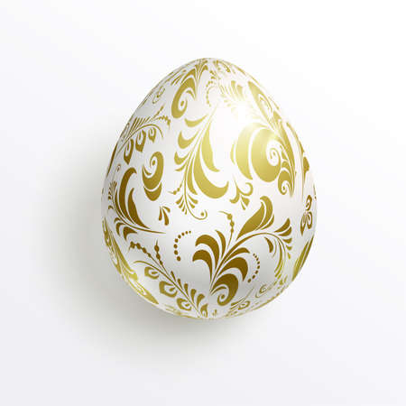 Realistic white egg decorated with gold floral pattern
